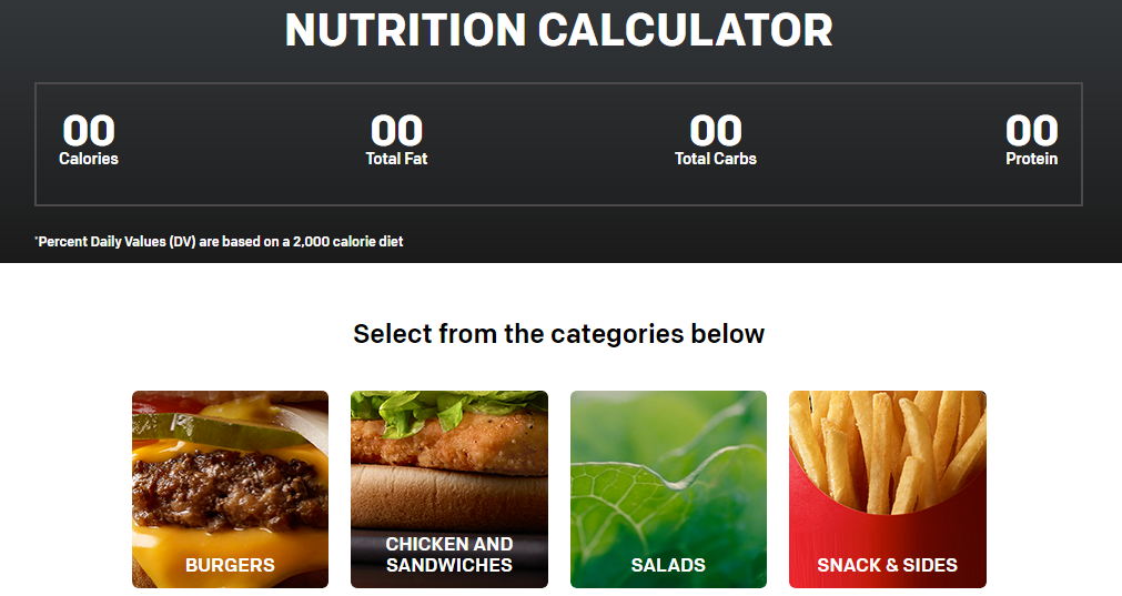 McDonalds Nutrional Calculator